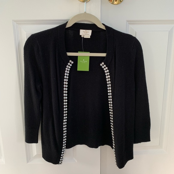 kate spade Sweaters - Black Cardigan With Crystal Trim